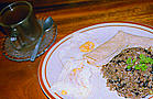 "Costa Rican ""Gallo Pinto"" with eggs and ""Agua dulce"""