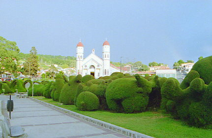 Church & park of Zarcero. Alajuela, Costa Rica.